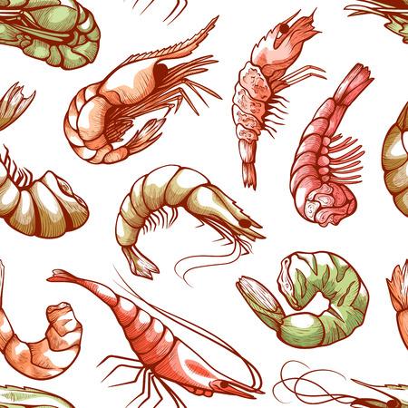 Shrimp sea shellfish seamless seafood cuisine pattern. Small free-swimming crustacean decor. Vector illustration on white background