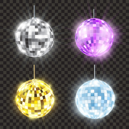 Realistic shiny disco ball set, bright round. Mirror or glitter ball, nightclub and discotheque decoration. Vector illustration