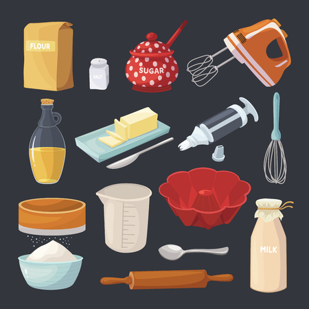 Baking pastry tools and kitchen cooking equipment. Household utensils. Vector flat style cartoon illustration isolated on black background