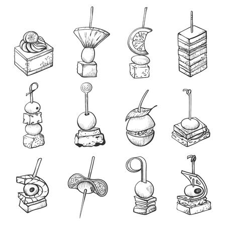 Croquis de nourriture de doigt, petit repas de restauration de banquet Vecteurs