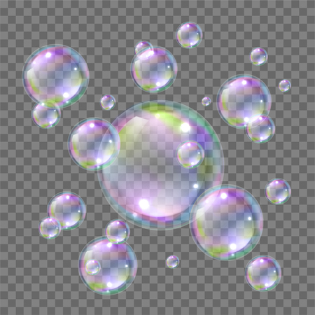Soap bright flying colorful bubbles realistic style. Soapy water ball floating in air when washing and cleaning. Vector illustration Иллюстрация