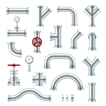 Steel pipes industrial set, different plumbing types. Engineering equipment. Vector flat style cartoon illustration isolated on white background Фото со стока - 124923232