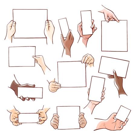 Human hands holding blank paper sheets of different size. Vector flat style cartoon illustration isolated on white background