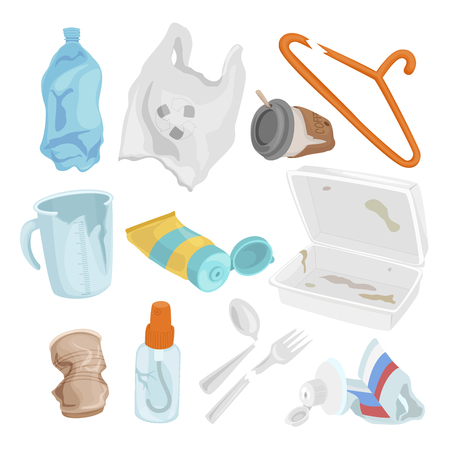 Plastic waste set, pollution and environment concept. Vector flat style cartoon illustration isolated on white background Illustration
