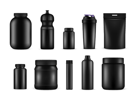 Sport nutrition containers for food and drink. Gym and healthy diet for athletes, sports medicine product set. Vector illustration Фото со стока - 124806727