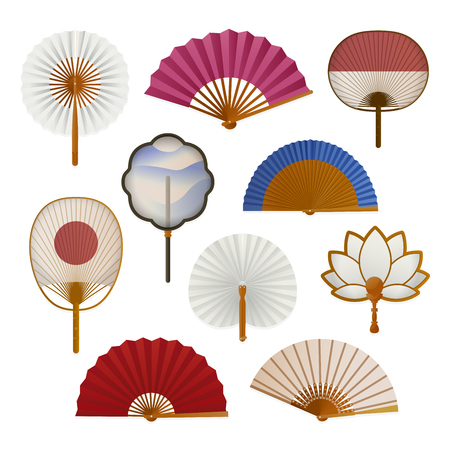 Hand paper fan set, oriental beautiful cooling. Paper accessory. Vector flat style cartoon illustration isolated on white background