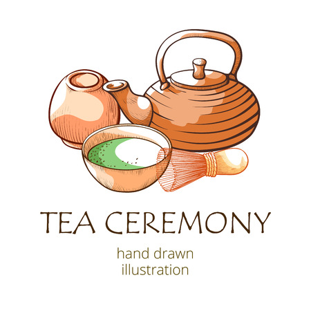 Matcha tea, oriental ceremony hand drwan banner. Asian culture ceremonial-grade matcha, traditional beverage. Vector illustration