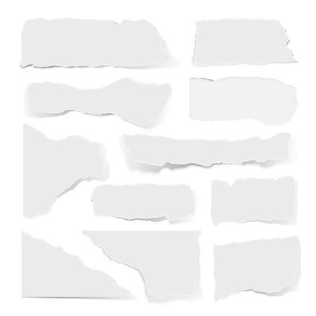 Pieces of torn paper in realistic style. White blank sheets, used and worn document parts, empty letter. Vector illustration
