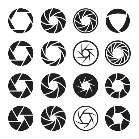 Camera shutter icon set, photo and video equipment