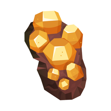 Minerals of bright natural structure, geological icon. Decorative jewel. Vector flat style cartoon illustration isolated on white background Фото со стока - 124633170