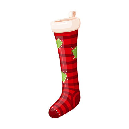 New Year red striped sock, festive icon. Christmas holiday decoration. Vector flat style cartoon illustration isolated on white background Фото со стока - 124633171