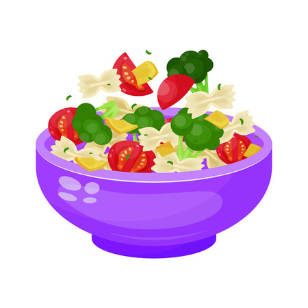 Bowl of salad, dieting and vegetarian appetizer. Natural healthy meal. Vector flat style cartoon illustration isolated on white background Фото со стока - 124633172