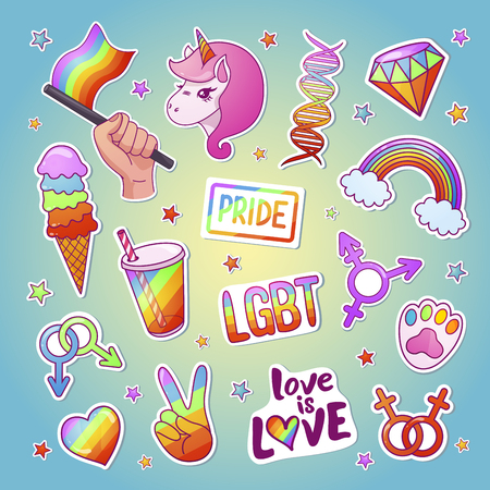 Lgbt bright sticker set with traditional emblems Фото со стока - 123647663