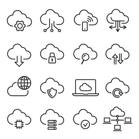 Cloud computing icon set, information and database. Networking business design. Vector line art illustration isolated on white background