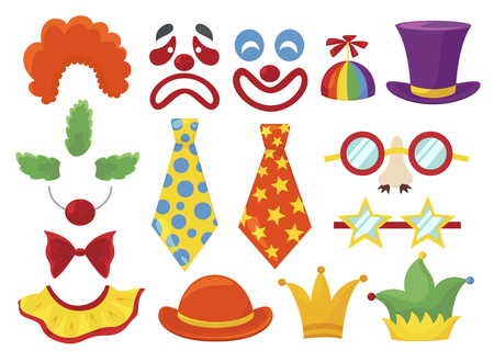 Clown props set, funny colorful booth elements. Masquerade and birthday costume. Vector flat style cartoon illustration isolated on white background Иллюстрация