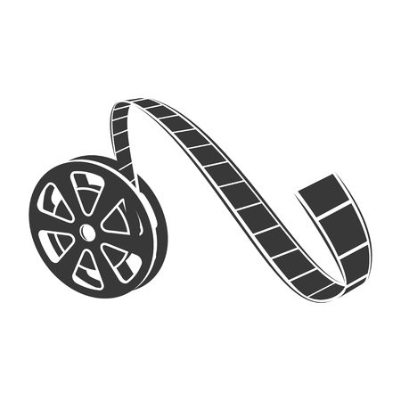 Film reel icon, cinematography black tape strip. Retro photo industry element. Vector line art illustration isolated on white background Фото со стока - 124380667