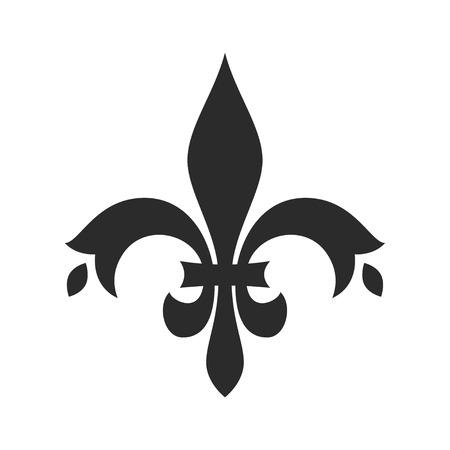 Fleur de lis black icon, medieval flower  イラスト・ベクター素材
