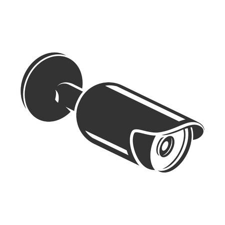 Security video camera, electronic home protection icon. Outdoor modern caution equipment. Vector line art illustration isolated on white background Фото со стока - 124380669