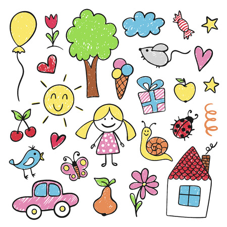 Children drawings in bright pencil and crayon Фото со стока - 123647669