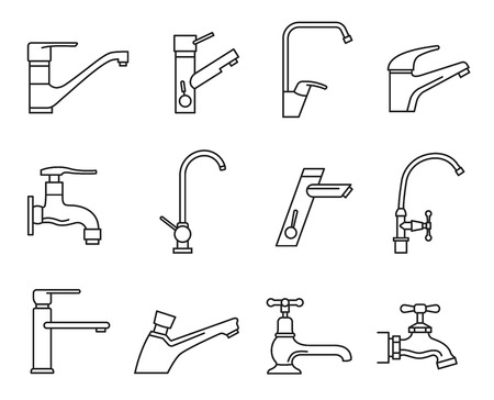 Faucet icon set, water tap for sink