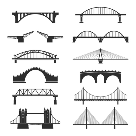 Bridge urban construction set, city landmark view  イラスト・ベクター素材