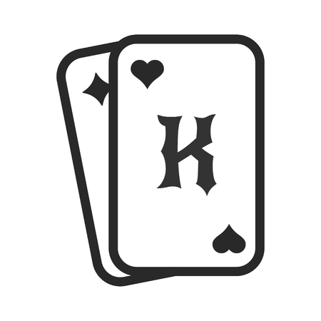 Playing cards, poker casino card game icon