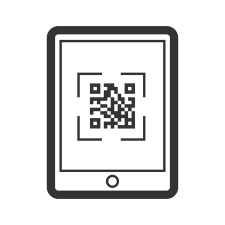 Scaning qr code icon, telephone business application Иллюстрация