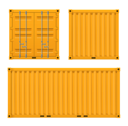 Cargo yellow container for shipping and sea export Фото со стока - 123647612