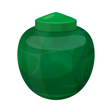 Urn for dust, green cremation and funeral pot Фото со стока - 123647619