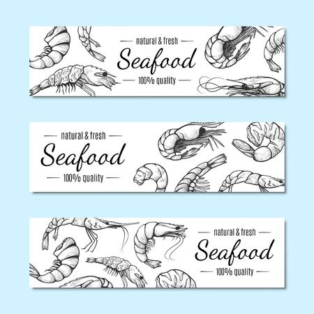 Bannière de crevettes, ensemble d'affiches de menu de restaurant de fruits de mer