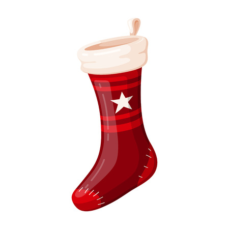Christmas red sock, holiday design and traditional decoration Фото со стока - 123647629