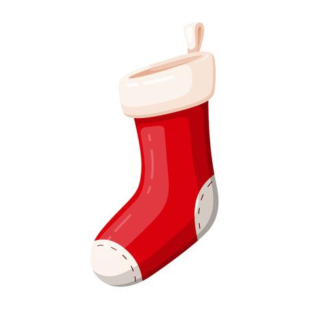 Gift Christmas red sock, traditional decor symbol