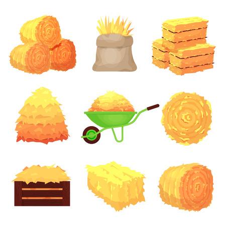 Balles de foin, piles agricoles jaunes. Image de l'agriculture rurale. Illustration de dessin animé de style plat vecteur isolé sur fond blanc