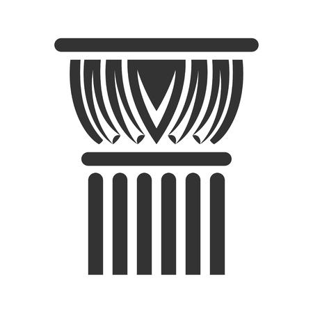 Antique column black icon, symbol of antique design. Modern pedestal for building. Vector line art illustration isolated on white background