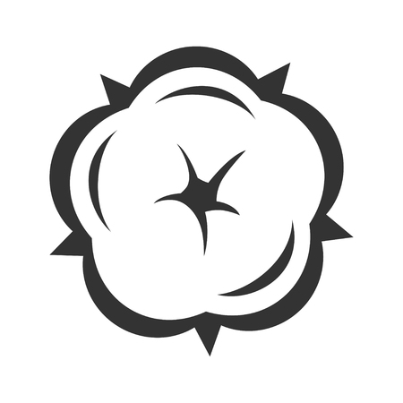 Cotton flower in blossom symbol, floral design. Natural beauty. Vector line art illustration isolated on white background