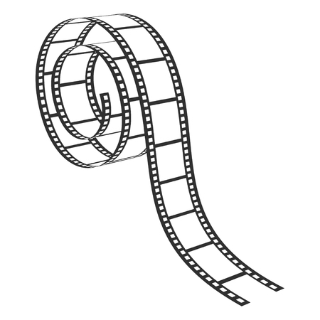 Film strip, retro photograph and cinema element. Movie filming strip. Vector line art illustration isolated on white background