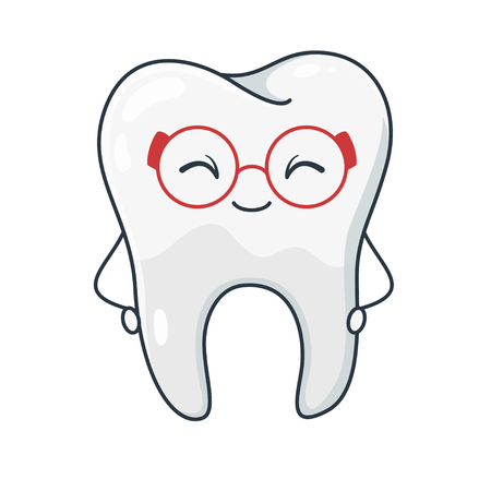 Tooth symbol, dental hygiene and healthcare image. Cute happy and healthy tooth. Vector flat style cartoon illustration isolated on white background