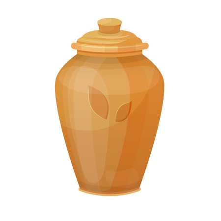 Antique vase, traditional and interior decorative pot. Classic pottery ornate. Vector flat style cartoon illustration isolated on white background Фото со стока - 124151019
