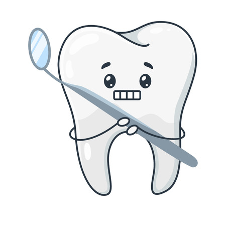 Afraid tooth, frightened of treatment and dentist. Unhappy cute tooth with a mouth mirror. Vector flat style cartoon illustration isolated on white background Иллюстрация