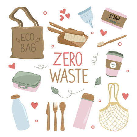 Zero waste and eco friendly products set. Reuse, recovery of products, packaging, materials. Vector flat style cartoon illustration isolated on white background Фото со стока - 123771171
