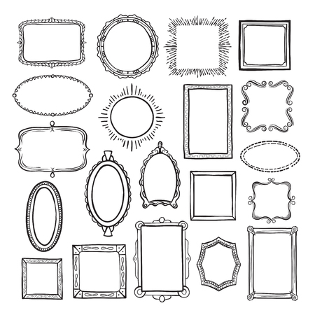 Conjunto de bocetos de marco de imagen, decoración de álbum de fotografías. Decoración y diseño de paredes. Ilustración de arte de línea de vector aislado sobre fondo blanco Ilustración de vector