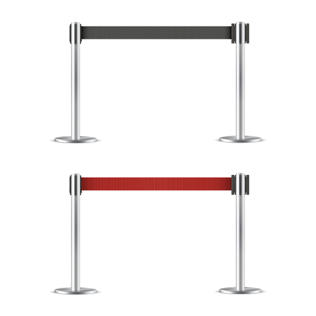 Retractable belt stanchion set, barrier. Strong, upright pole for crowd control. Vector flat style cartoon illustration isolated on white background Фото со стока - 123771175