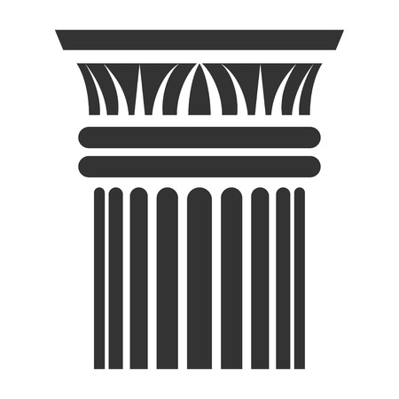 Greek column icon, sculpture and monument element. Architectural design. Vector line art illustration isolated on white background Фото со стока - 123771176