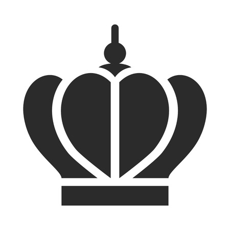 King crown black icon, monarch and royalty decoration. Coronation for emperor item. Vector line art illustration isolated on white background Фото со стока - 123771177