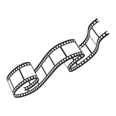 Film reel icon, cinematography and photography tape strip. Multimedia record screen. Vector line art illustration isolated on white background Фото со стока - 123771178
