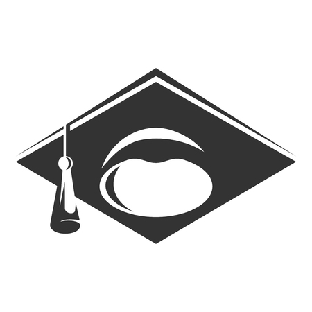Graduate cap black icon, academic wisdom and celebration symbol