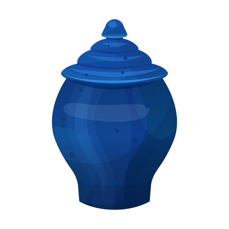 Antique classical vase in bright blue color. Vintage architectural element. Vector flat style cartoon illustration isolated on white background Vettoriali