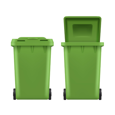Set pattumiera, bidone stradale in plastica verde. Pattumiera o bidone della spazzatura per spazzatura o spazzatura. Illustrazione vettoriale su sfondo bianco Vettoriali