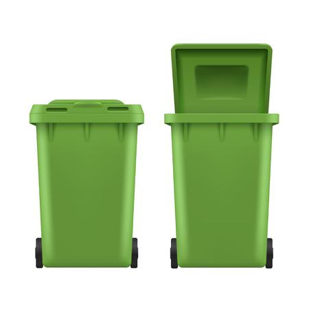 Waste bin set, green plastic street can. Dustbin or rubbish bin for trash or garbage. Vector illustration on white background Vector Illustratie