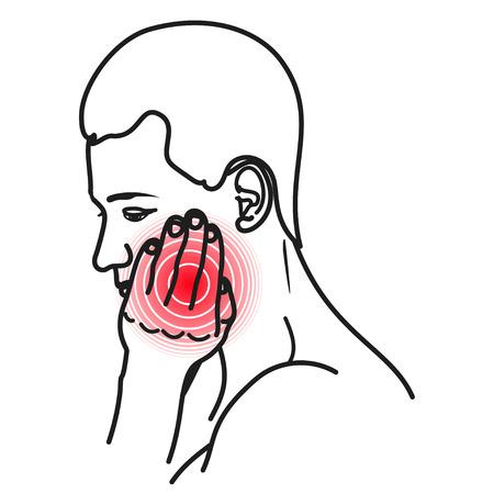 Icono de dolor de muelas, hombre que sufre con un fuerte dolor. Paciente masculino con dolor en los dientes o encías. Ilustración vectorial sobre fondo blanco